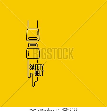 Vector thin line icon safety belt. Clasp. Simple mono linear pictogram. symbol of the security. Abstract background
