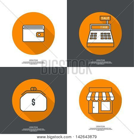 Set of vector icons pictograms in flat style of mobile and web applications. minimal, outline. Purse, shop, cash desk, Wallet. concept of E-commerce