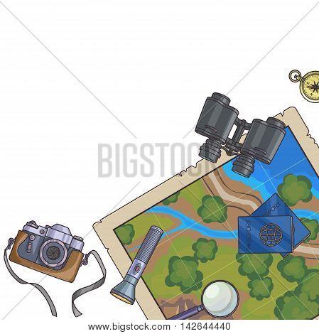 Tourism banner. Set of travel equipment on white passport, photo camera, compass, flashlight, binoculars. Adventure trip. Vector illustration.
