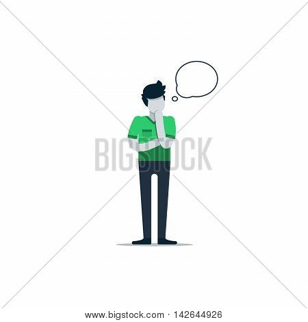 Thinking person with speech bubble isolated on white
