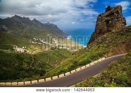 view of the Taganana valley in Anaga mountains Tenerife Canary Islands Spain
