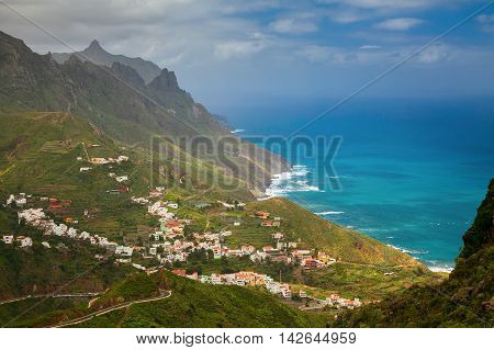 beautiful view of the north-east side of Tenerife with Taganana village Canary Islands Spain