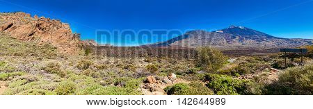 panoramic landscape of volcano Teide from the side of the Liano de Ucanca mountains Tenerife Canary Islands