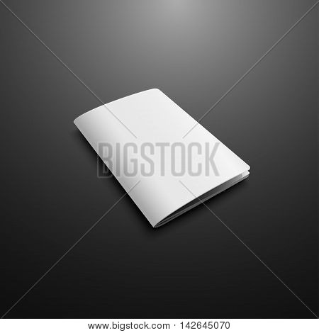 Blank Cover Of Passport Magazine Book Booklet Brochure Leaflet. Illustration Isolated On Dark Background. Mock Up Template Ready For Your Design. Vector EPS10.