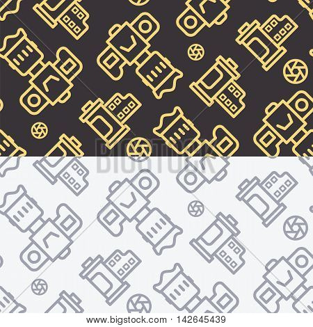 Professional dslr photo camera front view vector seamless pattern in linear style