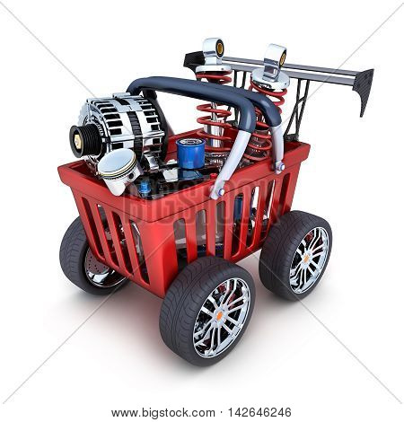 Abstract shopping cart and car parts (done in 3d rendering)
