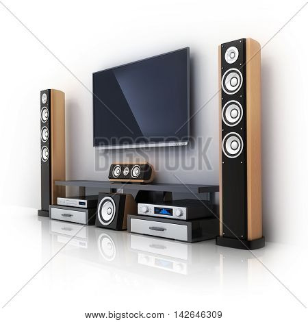 Modern TV and sound system (done in 3d rendering)