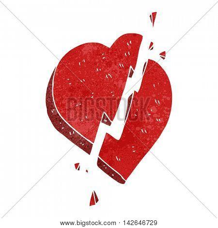 freehand retro cartoon broken heart symbol
