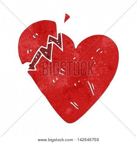 freehand retro cartoon broken heart