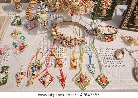 Slavgorod, Belarus - August 14: Fair Exhibition Of Handicrafts. Bijouterie August 14, 2016 In Slavgo