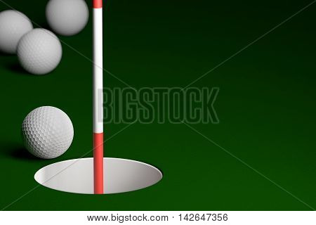 Golf Ball With Flagstick At Hole Background, 3D Rendering
