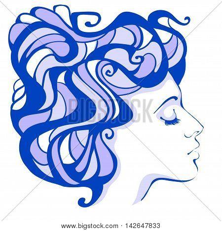 Female profile lilac in the Art Nouveau style