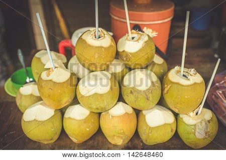 Coconut vendor typical street food business in Asia