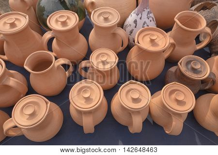 Slavgorod, Belarus - August 14: Fair Exhibition Of Handicrafts. Pottery Small And Large Jugs August