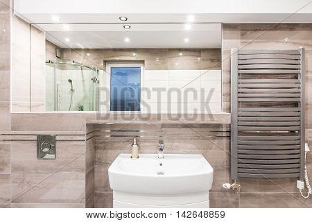 Beige Bathroom With Heater Idea