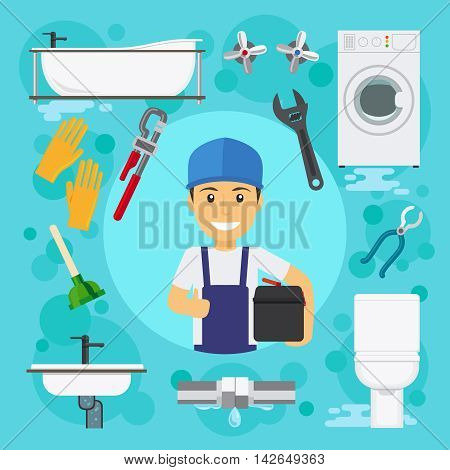 Sanitary engineering. Plumber at plumbing work with water drain vector illustration