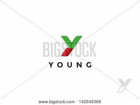 Letter Y Logo ribbon design vector. Monogram Logotype concept icon