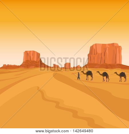 Egypt sahara desert with sand hills and camel caravan silhouettes vector background