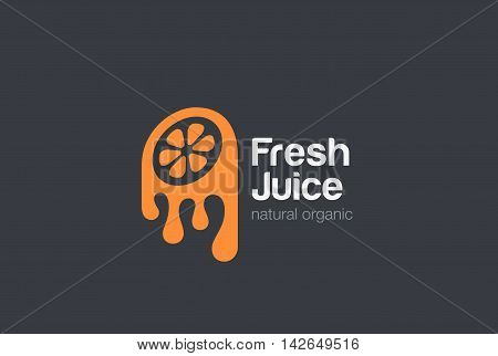 Orange fresh Juice logo design vector. Lemon Logotype icon