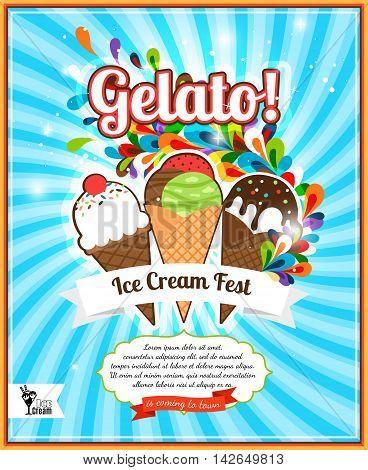 Ice Cream festival retro advertising. Gelato fest poster vector illustration