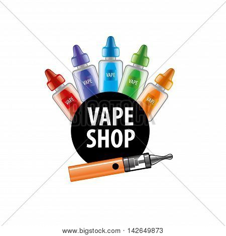 logo with liquids in vials to store the electronic cigarette. Vector illustration