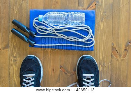 things to practice with skipping rope, on wood background