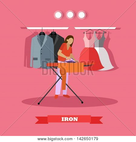 Woman ironing clothes vector illustration. Housewife uses the home appliance.