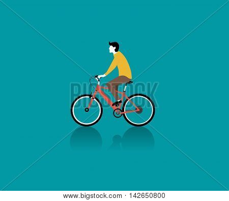 A male bicyclist riding a bicycle against sky background vector illustration. flat vecter