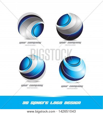 Corporate business sphere logo set design 3d icon vector company element template media games
