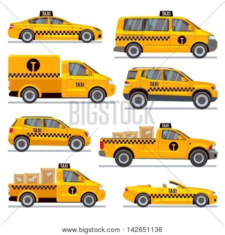 Different taxi types flat vector collection. Automobile taxi for passenger, illustration taxi pickup for transportation parcels