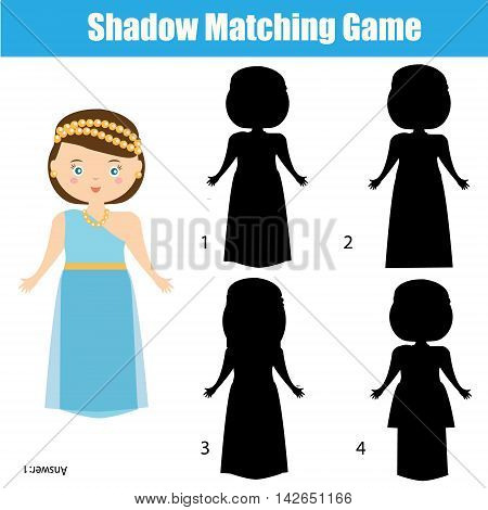Shadow matching game for children. Find the right, correct shadow task for kids preschool and school age