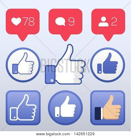 Thumb up, like icons, like follower comment icons vector. Set of element for social network illustration