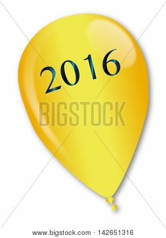 A large gold balloon with the legend 2016