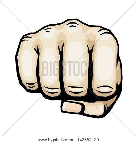 Color punching hand with clenched fist vector illustration. Human fist isolated on white background, icon human hand for protest and strike
