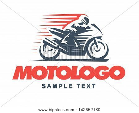 Sport motorcycle logo illustration on white background.