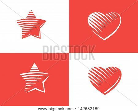 Star and heart Icon vector. gravure style