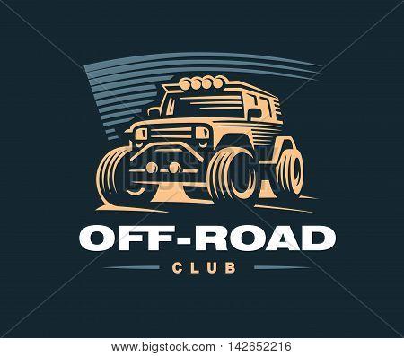 Off road car logo illustration on dark background.