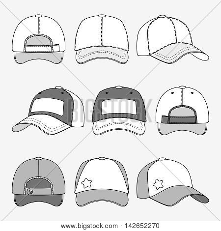 Baseball cap front back and side view outline vector. Template of caps, illustration of cap for sport