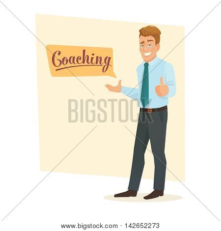 Business coach giving lecture, training, seminar or presentation. Public speaking skills coaching workshop presentation.