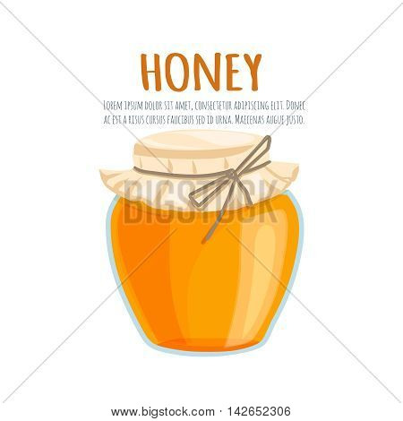 Honey bank vector illustrations. Cartoon flat of the bank with honey on a white background. For brochures, banner and market natural healthy food production Honey .
