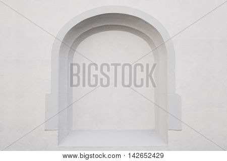 exterior wall with empty alcove frame. background with copy space.
