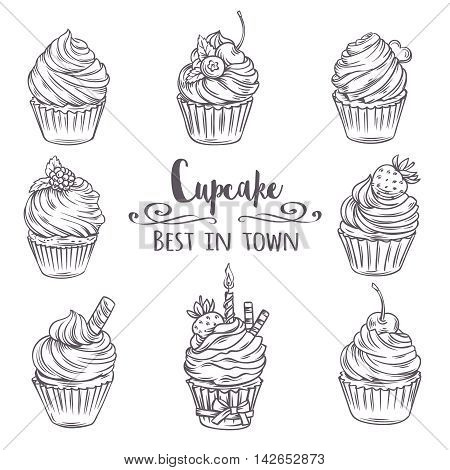 Set decorative hand drawn cupcakes. Vector illustration cupcakes in old ink style.