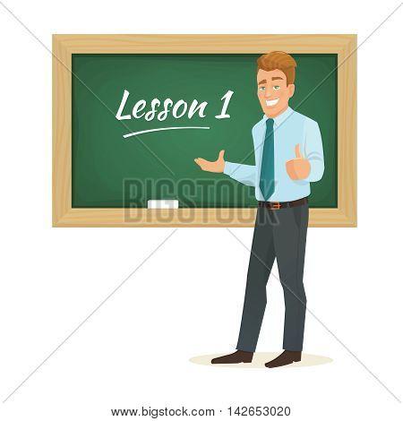 Vector cartoon flat male teacher standing at the blackboard