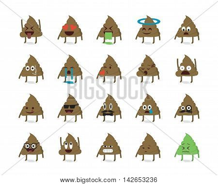 Set of shit emoticon vector isolated on white background.