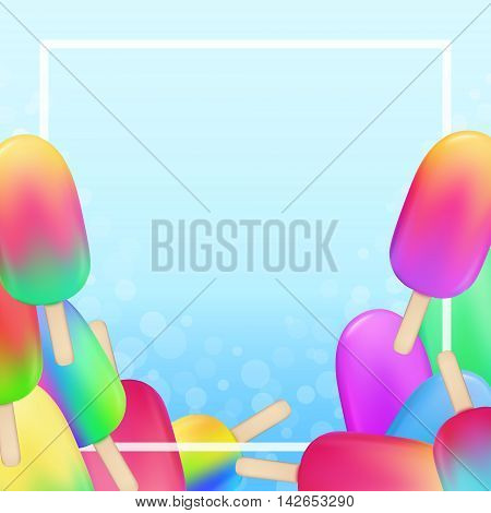Ice Cream Cold Juice Gelato On A Stick Banner Blue