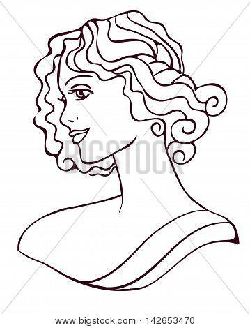 vector female portrait in the style of Art Nouveau