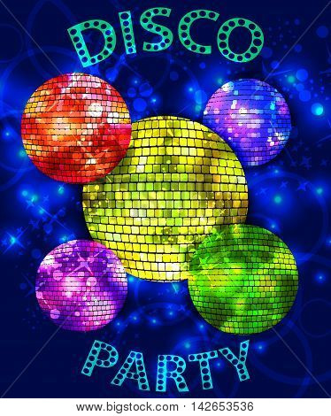 vector set of colored disco balls on the bright glowing background with text DISCO PARTY
