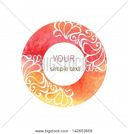 vector round ornament in Art Nouveau style on watercolor circles on a white background