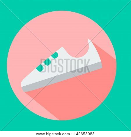 Fashionable white sneaker shoe. Fitness sport shoe icon in flat style with long shadow