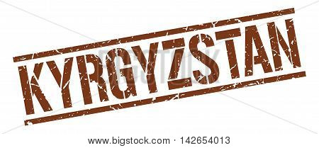Kyrgyzstan stamp. brown grunge square isolated sign